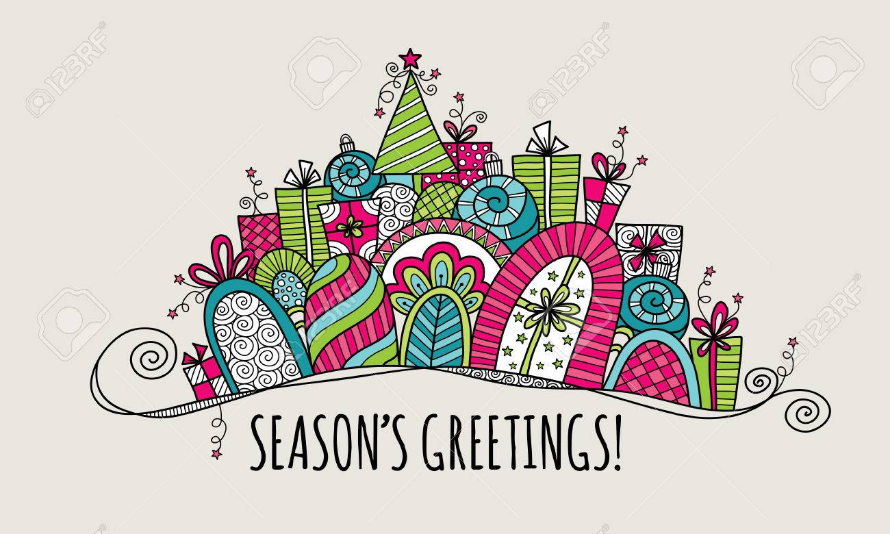 Seasons Greetings Christmas Doodle Vector Illustration With