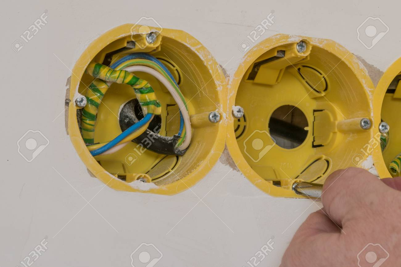Household Electrical Box For Connecting An Electrical Outlet.. Stock ...
