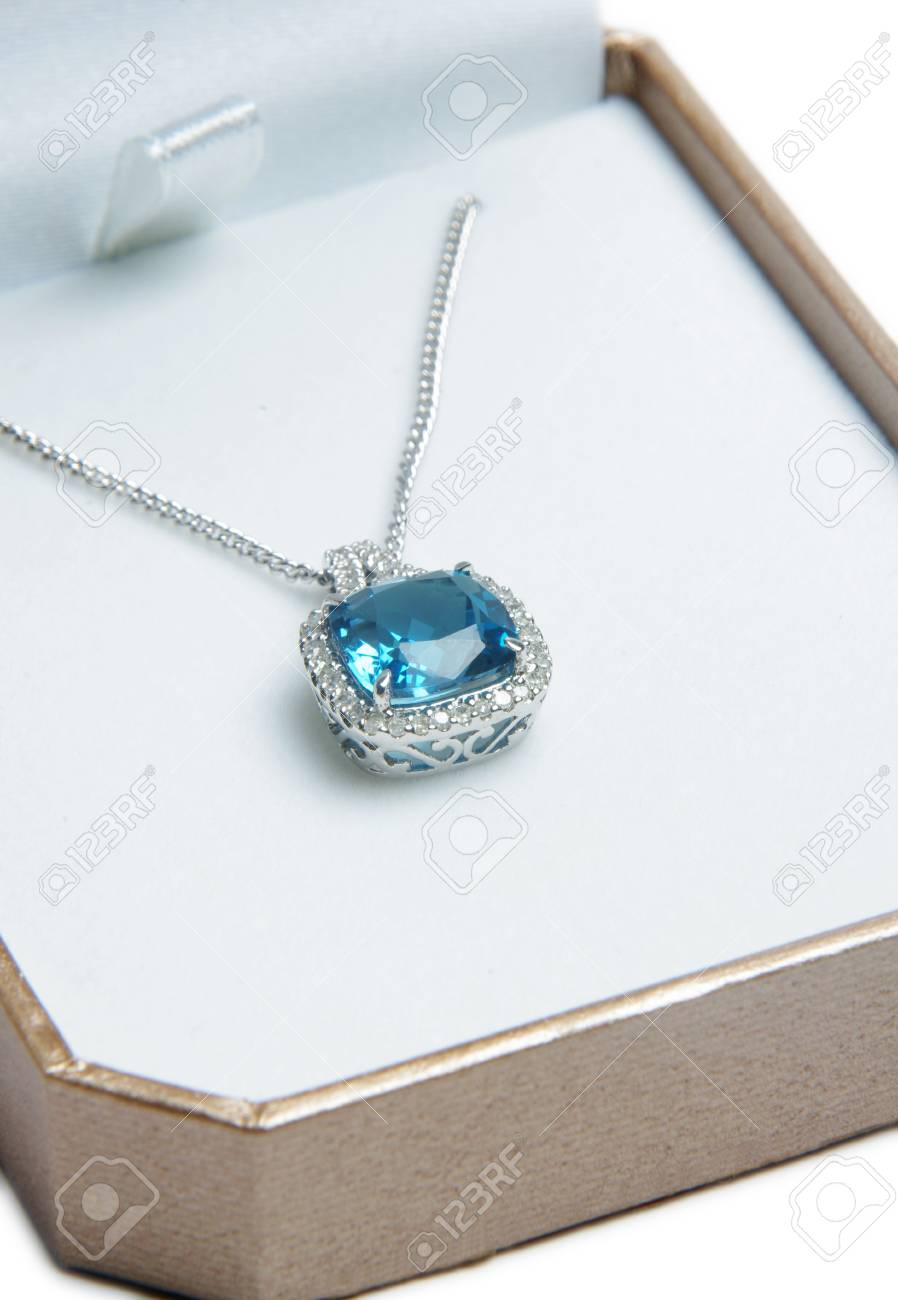 Blue Diamond Necklace In Gift Box On Dark Background