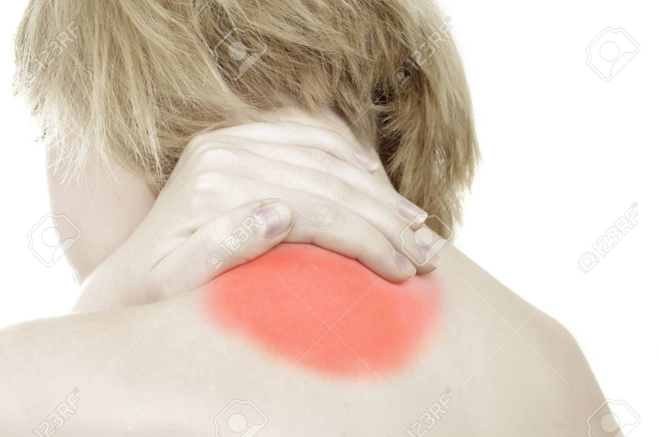 woman has a back pain. toned picture Stock Photo - 13817502