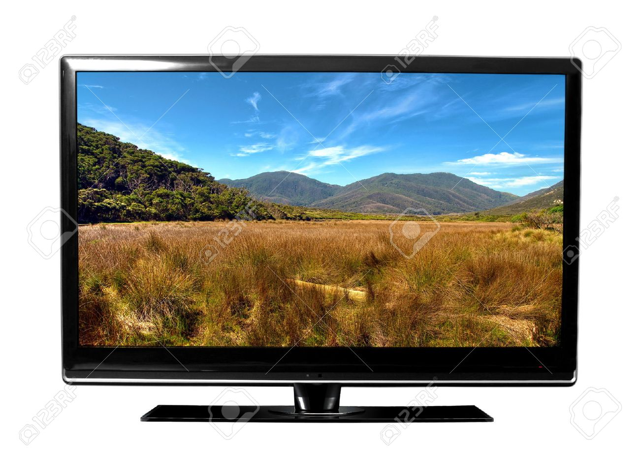 Big Tv Screen With Landscape Stock Photo, Picture And Royalty Free Image.  Image 23463527.