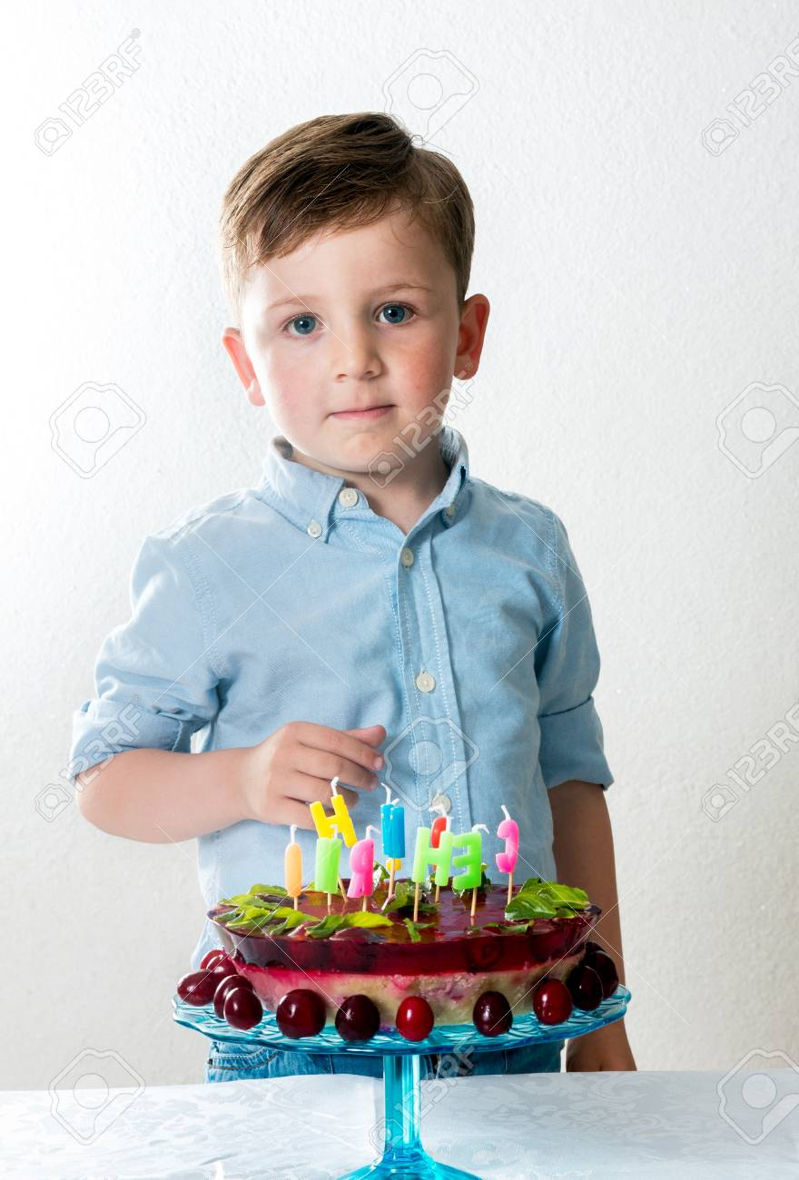 Tremendous Little Boy With The Birthday Cake Stock Photo Picture And Royalty Personalised Birthday Cards Veneteletsinfo