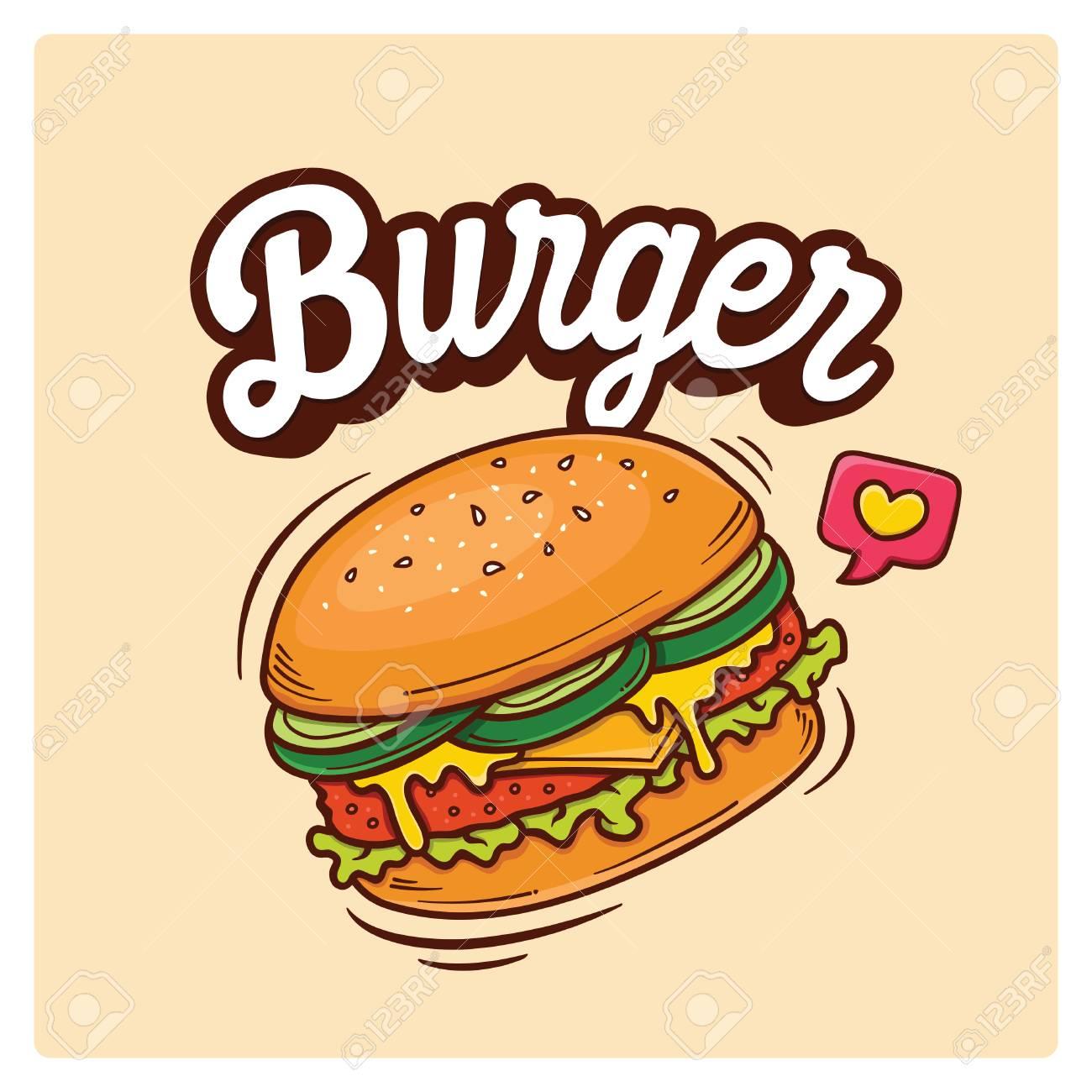 Hand Drawn Big Burger Vector Doodle Illustration - 121093600