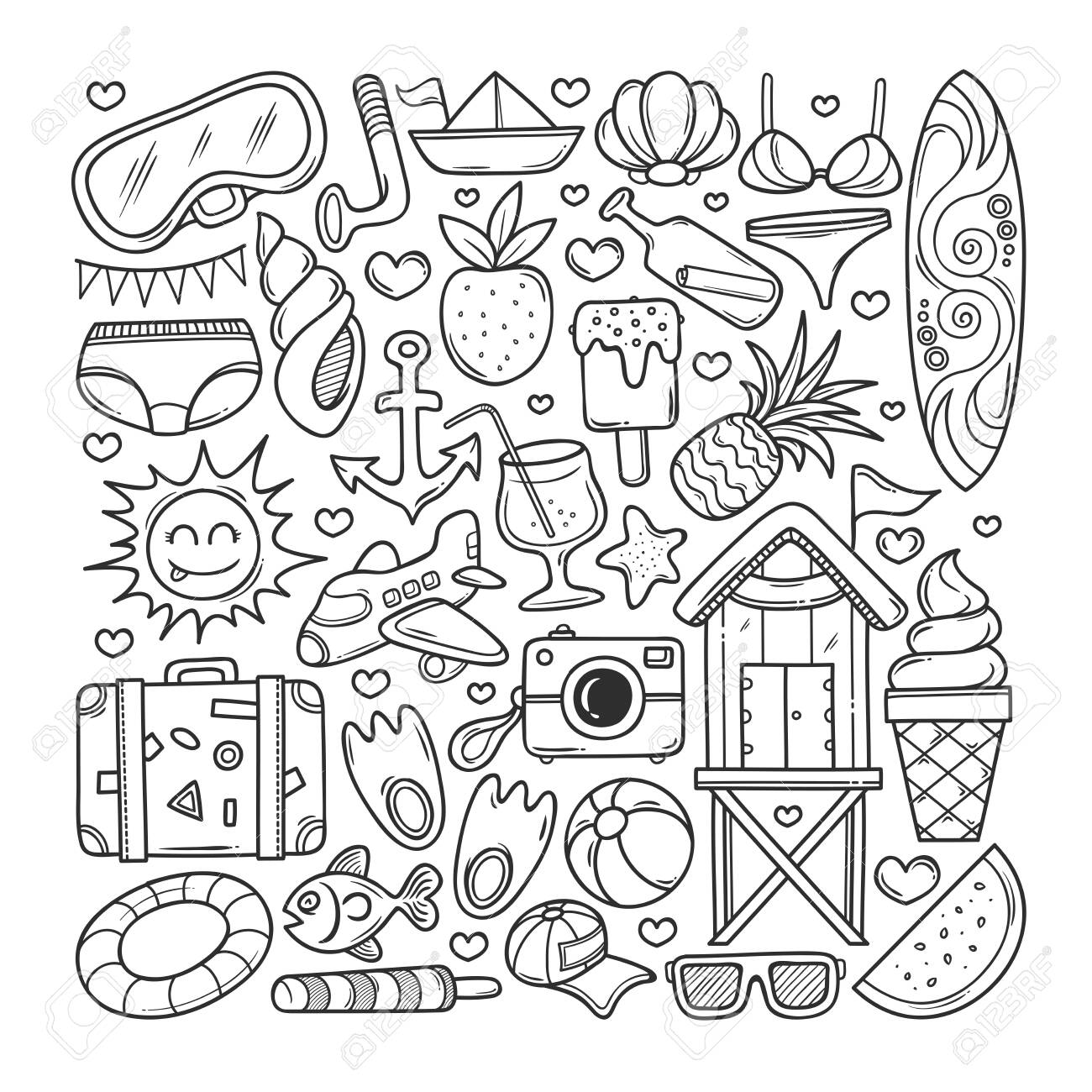 Summer Icons Hand Drawn Doodle Coloring Vector