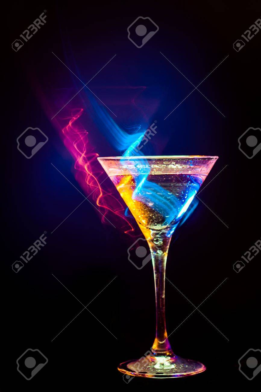 colourful coctail on the black background Stock Photo - 14815758