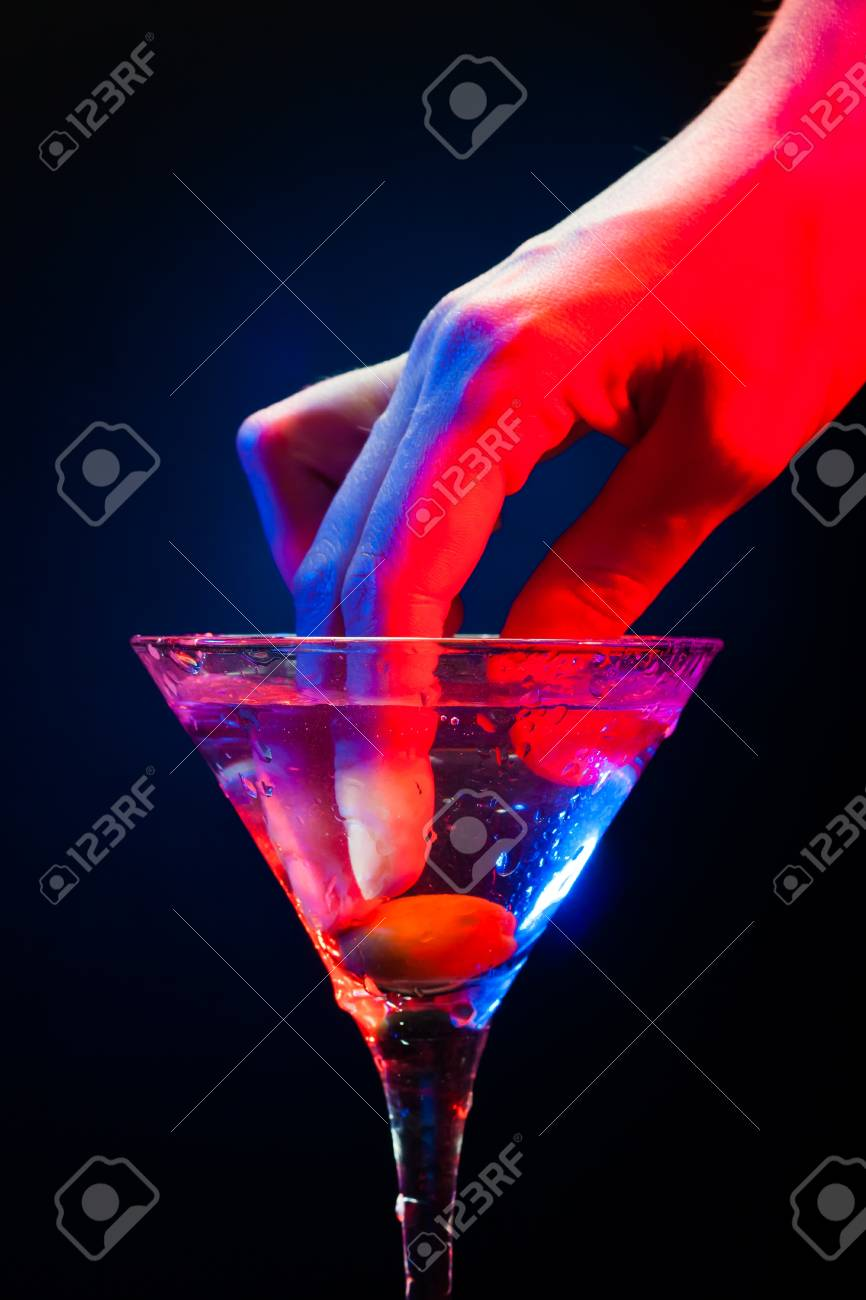 colourful coctail on the black background Stock Photo - 15094368