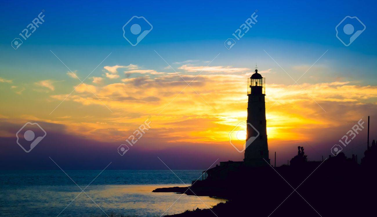 Lighthouse on sunset. Crimea, Ukraine Stock Photo - 16245201