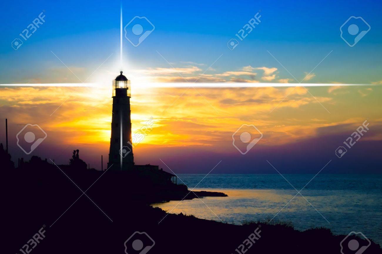 Lighthouse on sunset. Crimea, Ukraine Stock Photo - 16245089