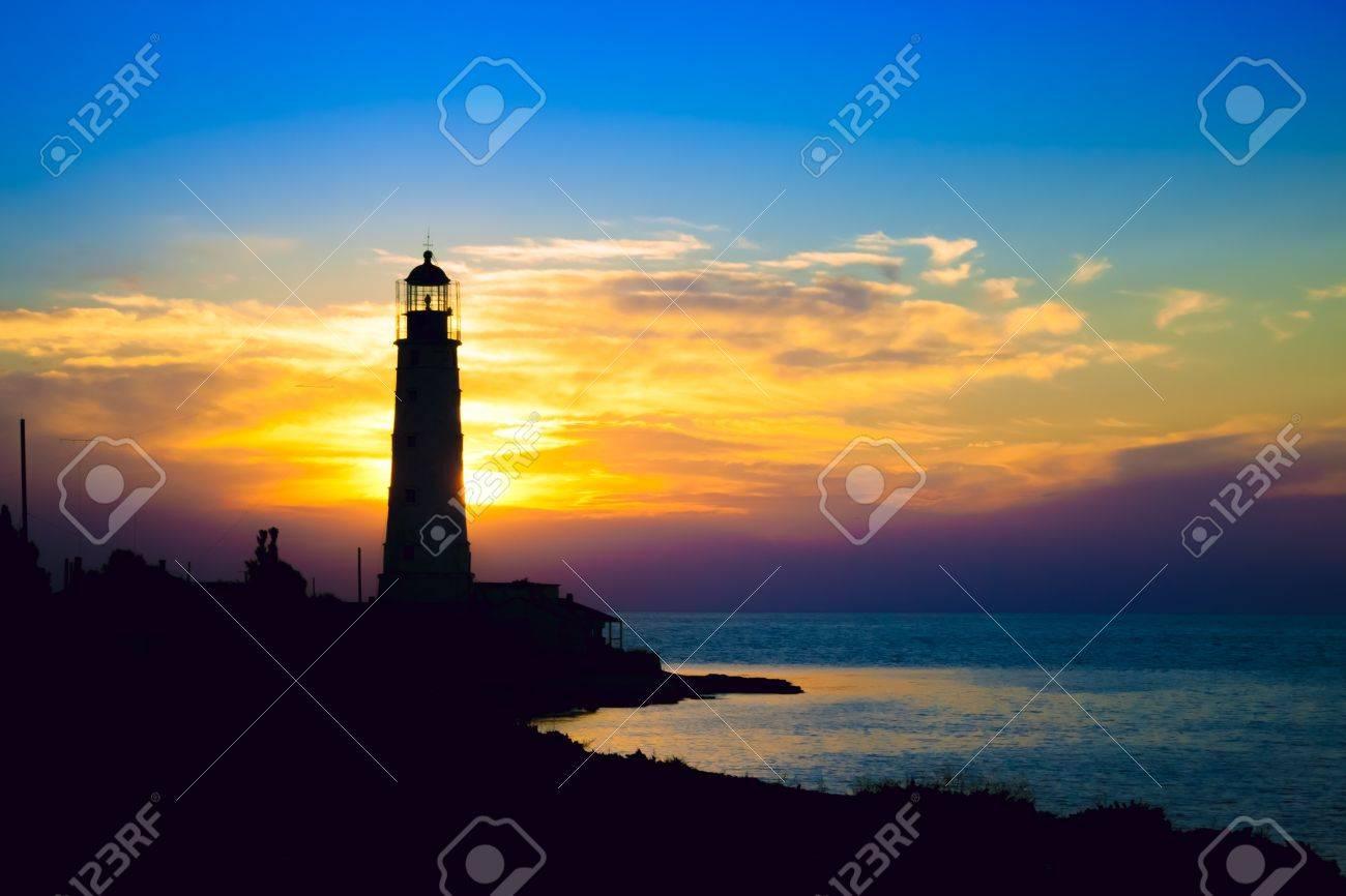 Lighthouse on sunset. Crimea, Ukraine Stock Photo - 16245357