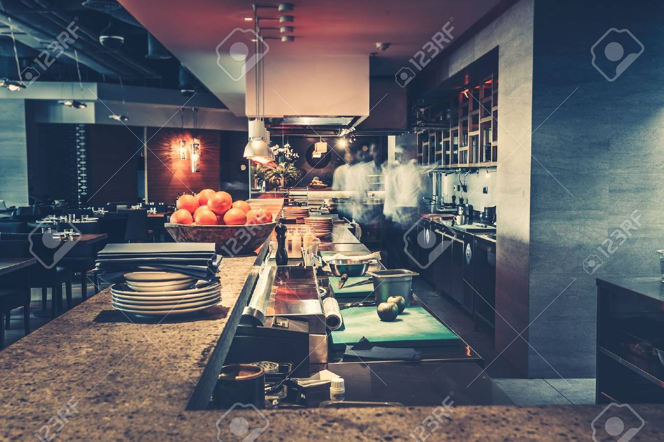 Restaurant Kitchen Interior Bar Counter Made Of Natural Stone Stock Photo Picture And Royalty Free Image Image 70536420