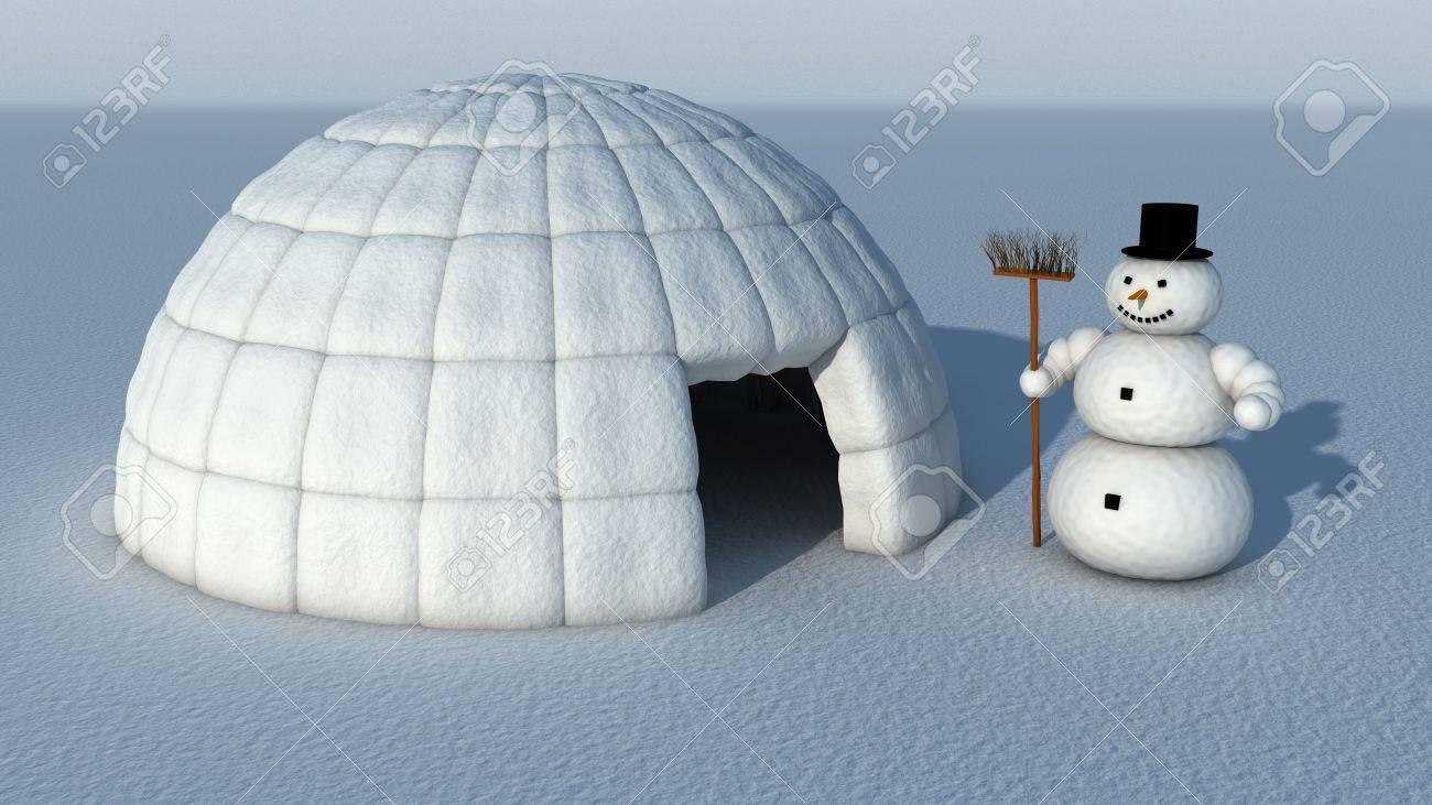Snowman and Igloo Stock Photo - 5947101