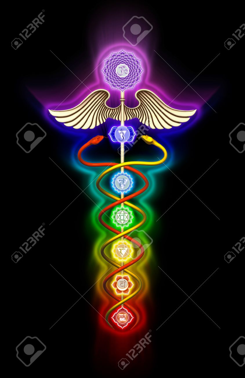 Caduceus Chakras Stock Photo - 24118582