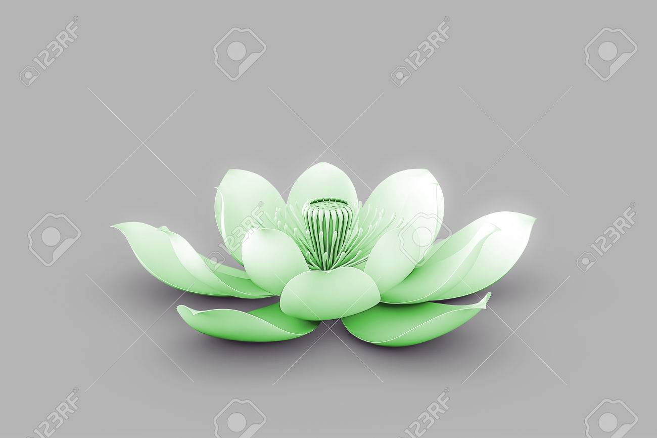Lotus Flower In Chakra Color Green Stock Photo Picture And Royalty