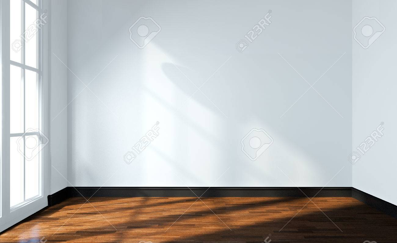 Empty Room Interior White Wall And Wood Floor. 3d Render Stock Photo ...