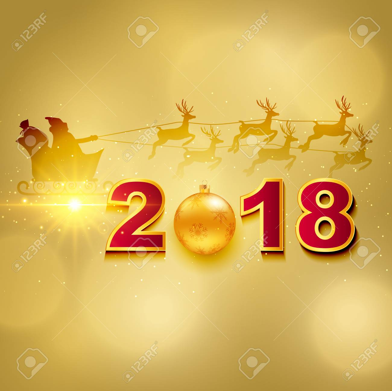 2018 Happy New Year Greeting Card With Light, Colored Text Design ...