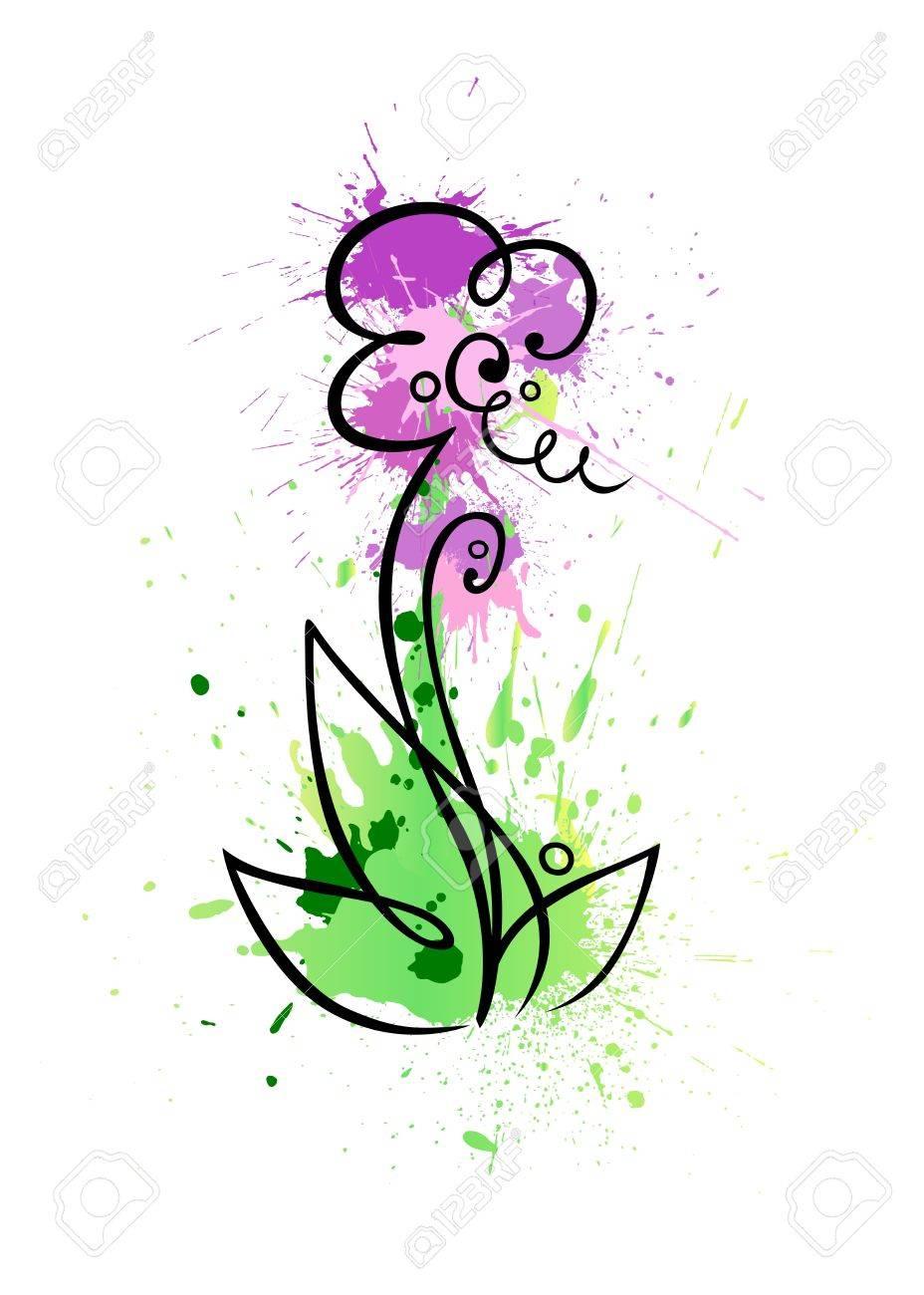 Une Fleur Stylisee De Taches De Couleurs Grungy Banque D Images Et