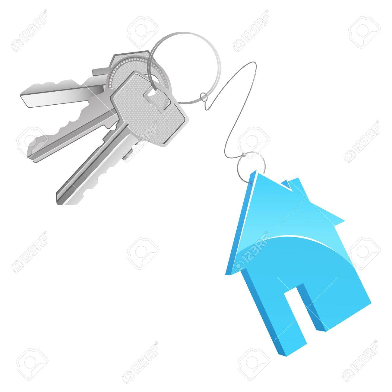 A key bunch with a cottage shaped trinket Stock Photo - 8210106