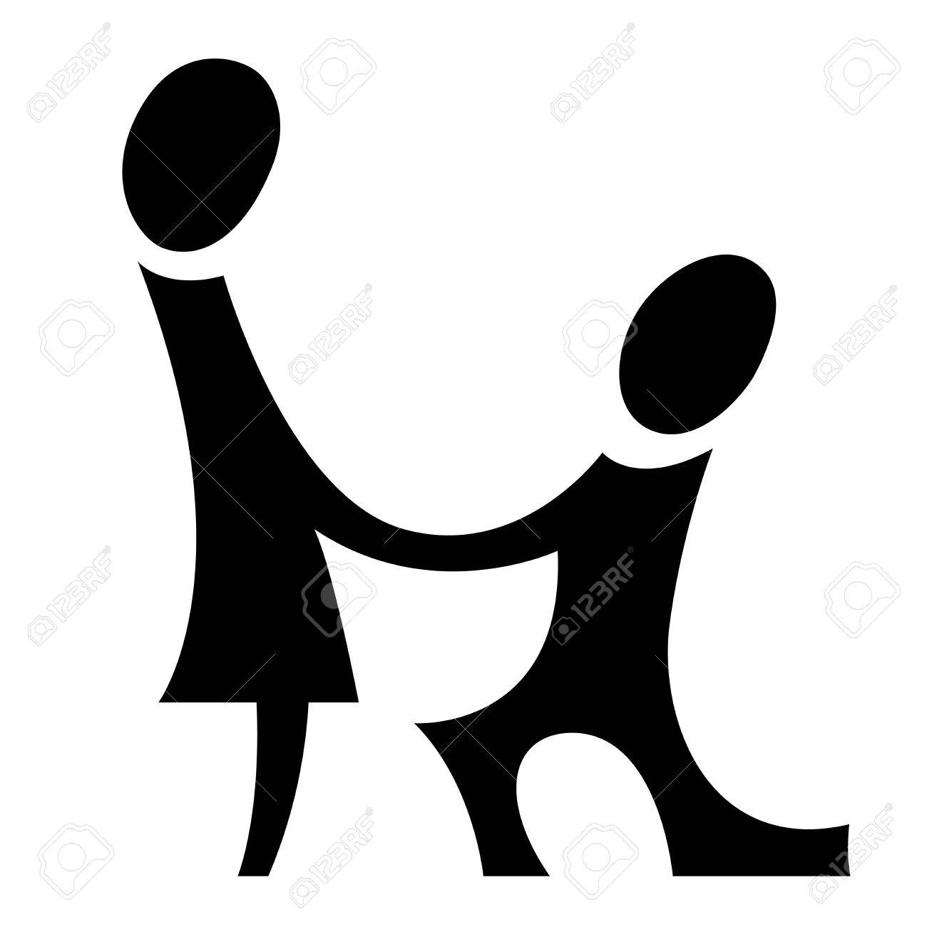 A pictogram with a man making proposal to a woman Stock Photo - 8745897
