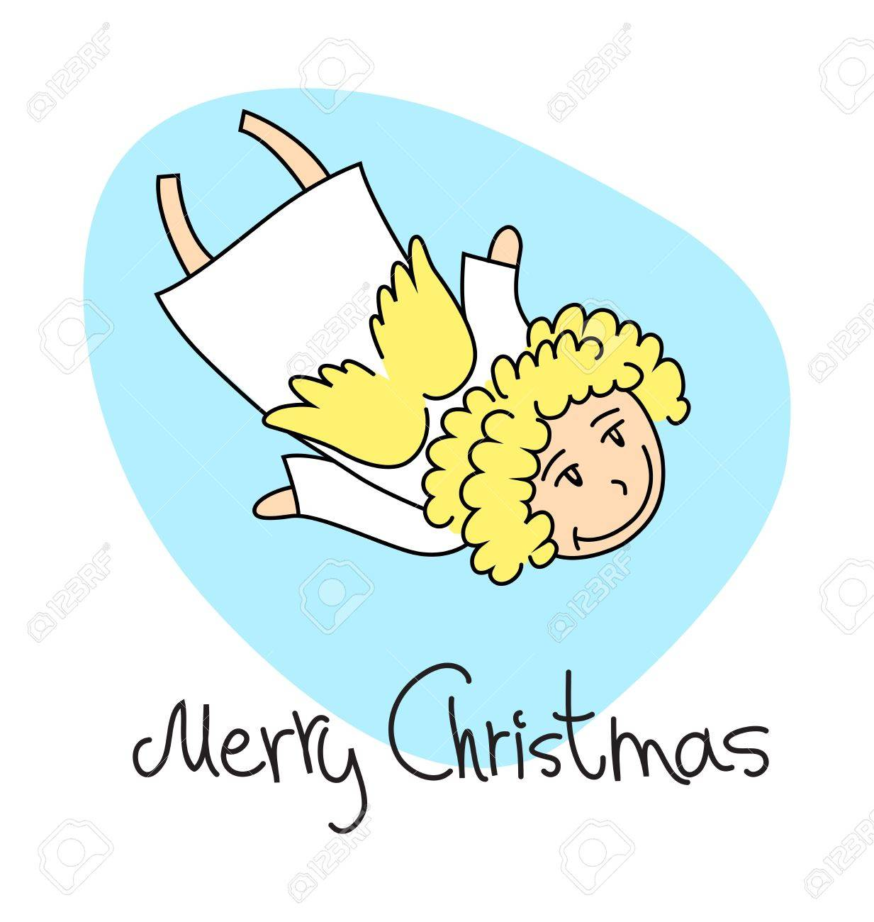 A square christmas card with a cartoon angel Stock Vector - 15779325