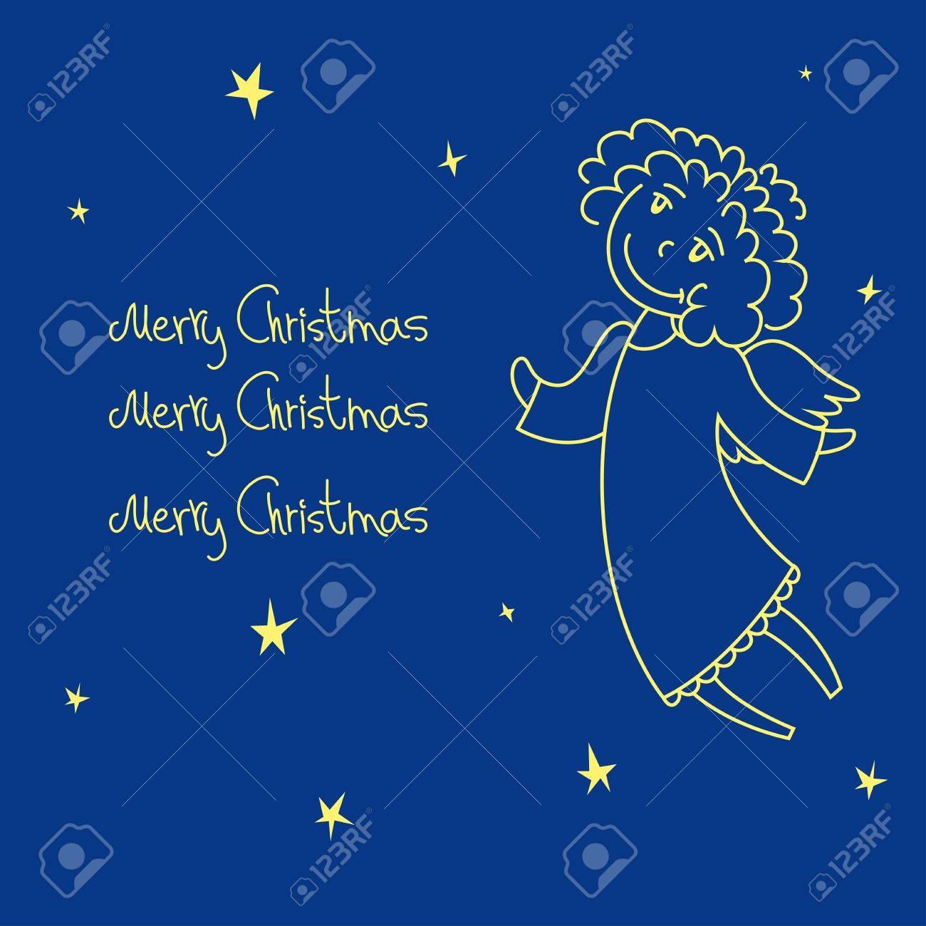 A christmas card with an angel Stock Vector - 15779327