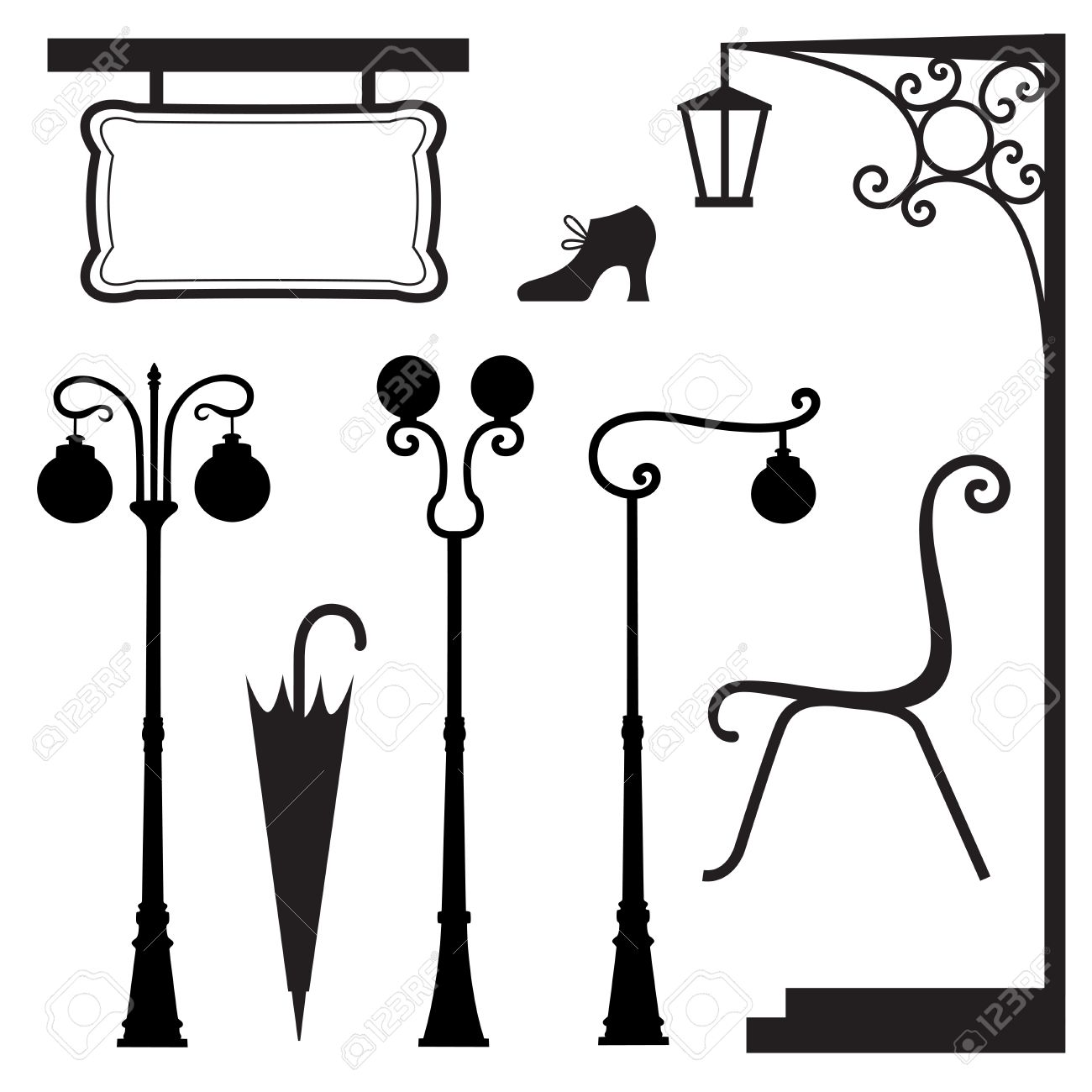 A Set Of Vintage Elements Royalty Free Cliparts Vectors And Stock
