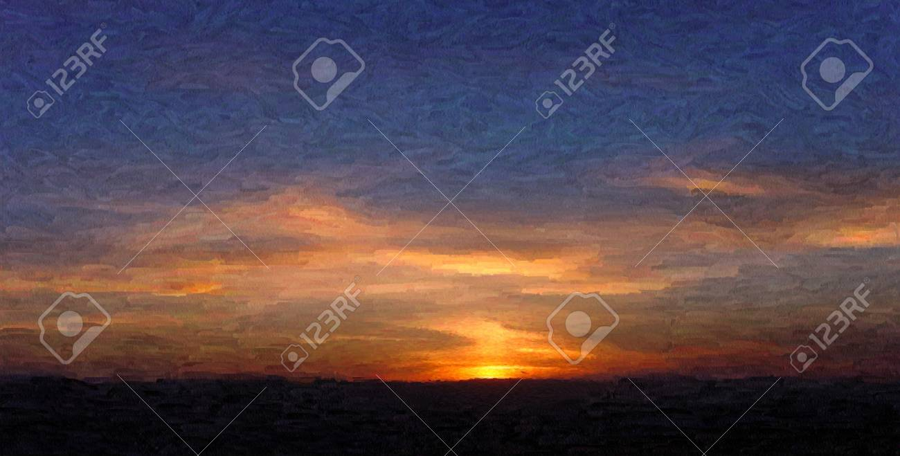 painting of sunset in oil technique made on a computer Stock Photo - 4438321