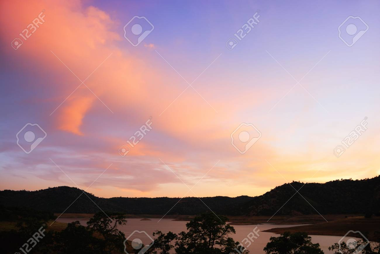 Blue And Purple Sunset Above The New Melones Lake In California Stock Photo Picture And Royalty Free Image Image 4972123