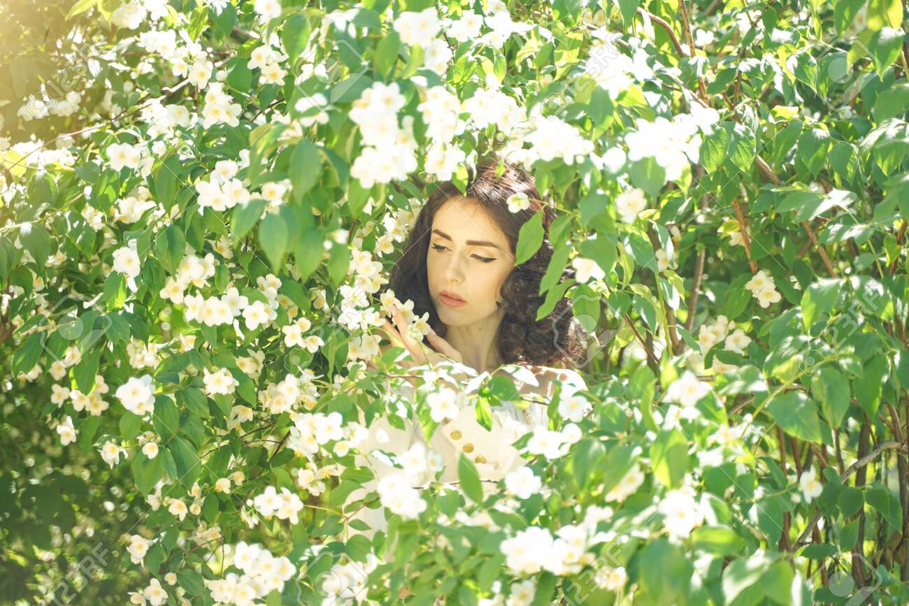 The Girl Stands Among The Jasmine Bushes And Inhales The Fragrance