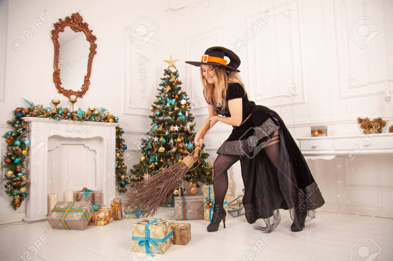 The Evil Witch In Black Dress And Scary Hat From Halloween Came Stock Photo Picture And Royalty Free Image Image 144386506