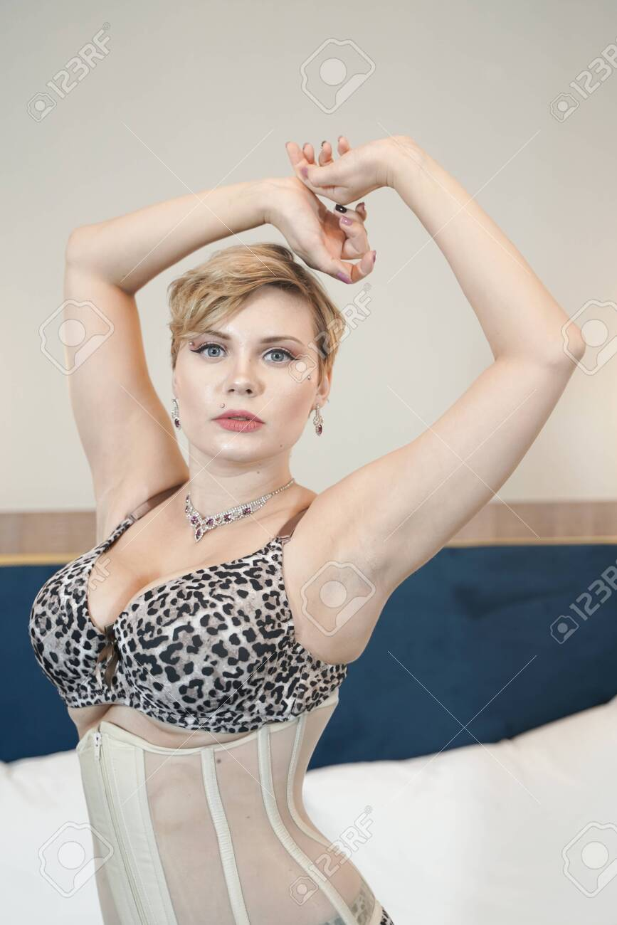 Stylish Pin Up Short Hair Blonde Woman With Plus Size Curvy Body Stock Photo Picture And Royalty Free Image Image 134105331