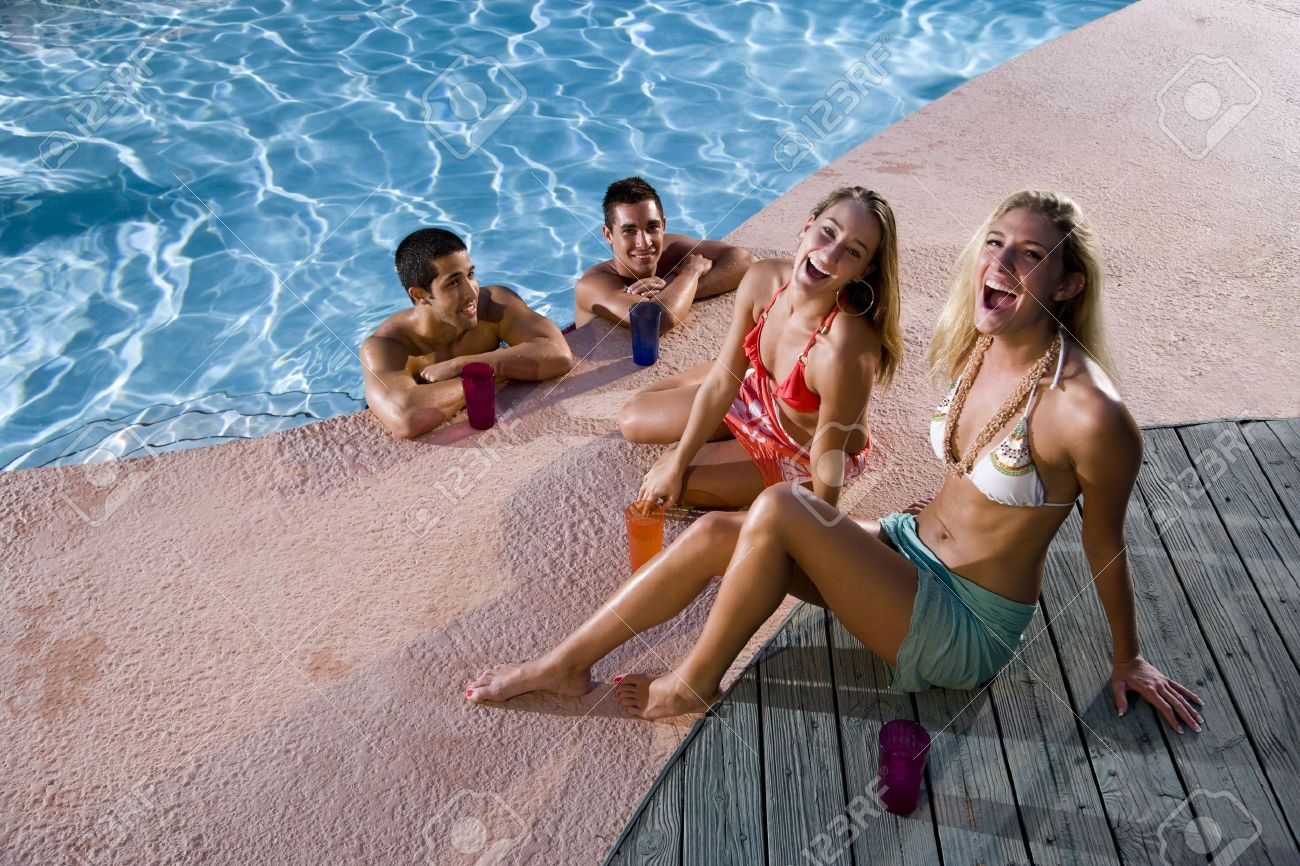 swimming pool with friends. Interesting Swimming Stock Photo  Young Adult Friends Laughing Together By Swimming Pool On Swimming Pool With Friends