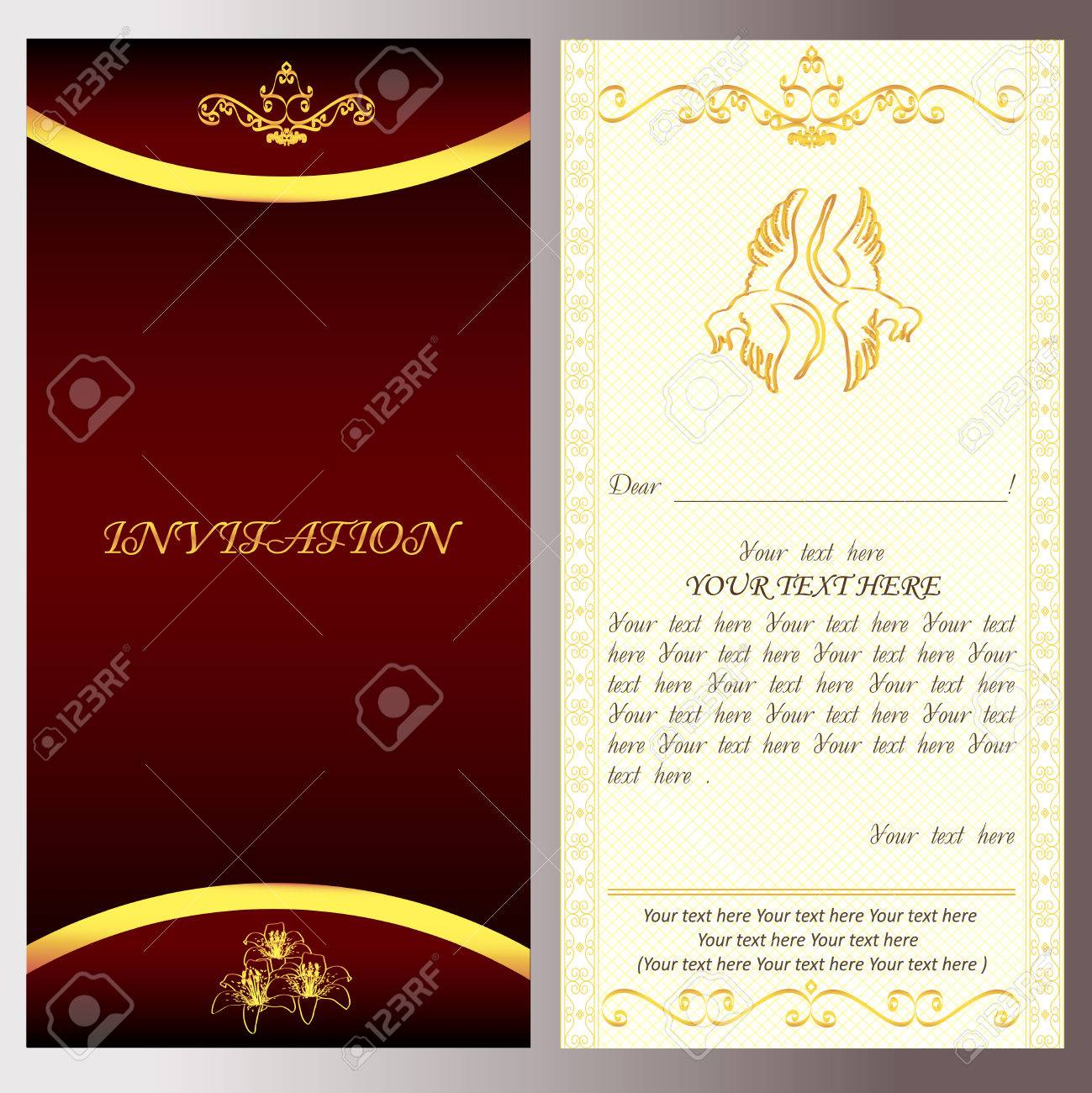 Golden Invitation For Holiday Card With Text Vector Easy To