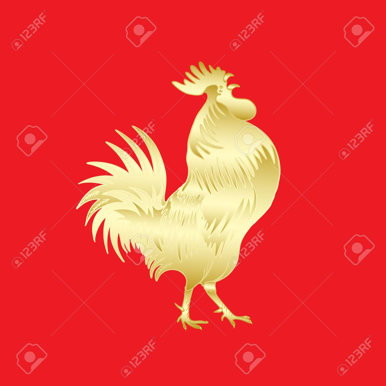 Chinese 2017 New Year Of The Rooster Symbol Gold Metallic Rooster