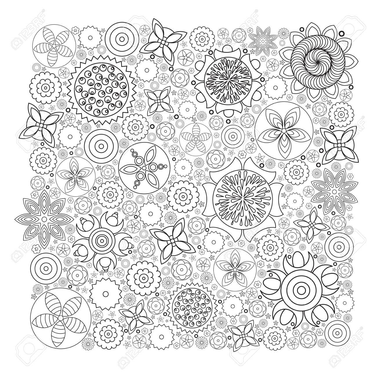 Vector Patrón Floral Monocromo. Imitación De La Textura Del Doodle ...