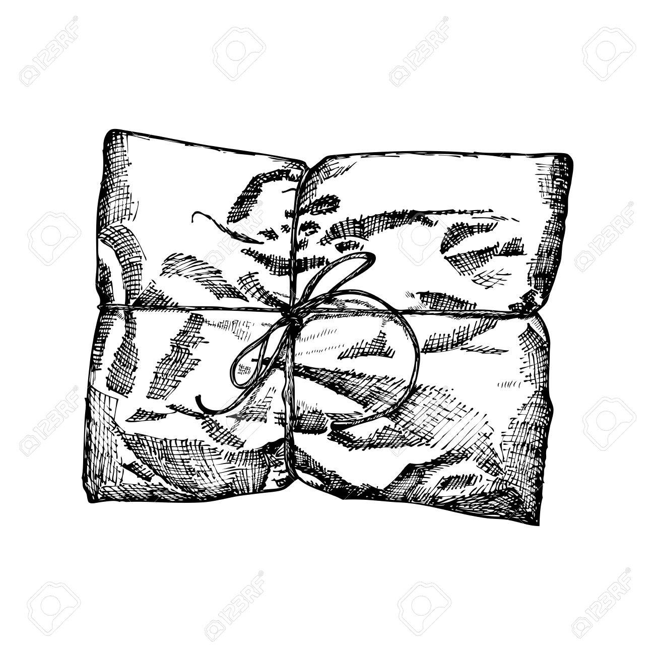 gift box with ribbon string and bow hand drawn realistic
