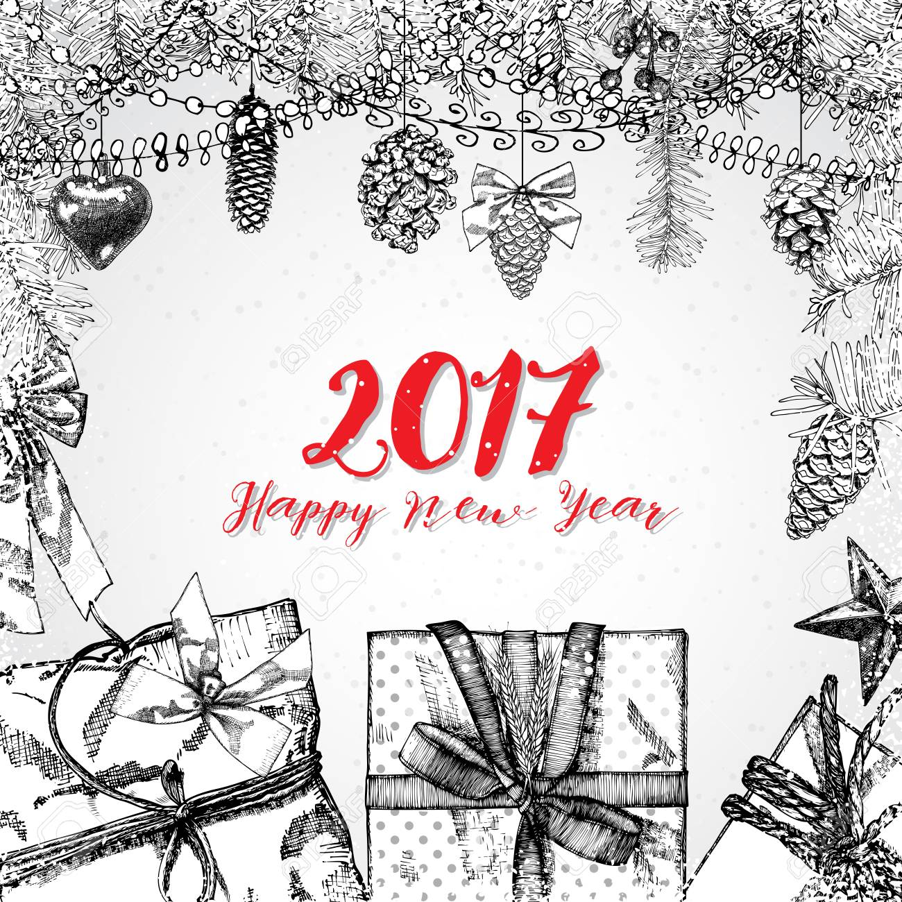 2017 Happy New Year Hand Drawing Greeting Card Design With Calligraphy Royalty Free Cliparts Vectors And Stock Illustration Image 66806094