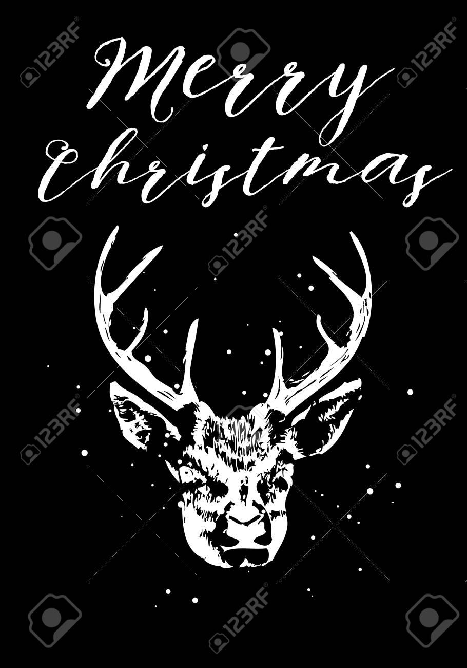 Merry christmas and seasons greetings card with brush calligraphy merry christmas and seasons greetings card with brush calligraphy and handdrawn dear vector stock m4hsunfo