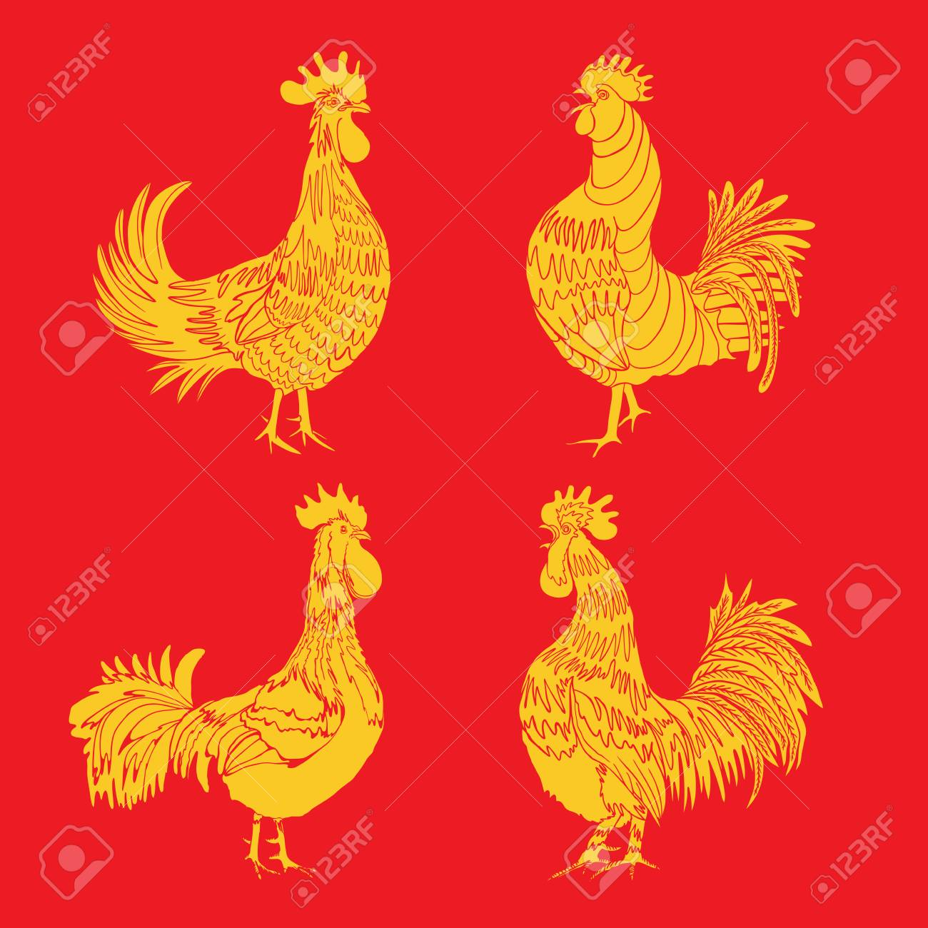 Set Of Roosters As Animals Zodiac Symbols For Chinese New Year