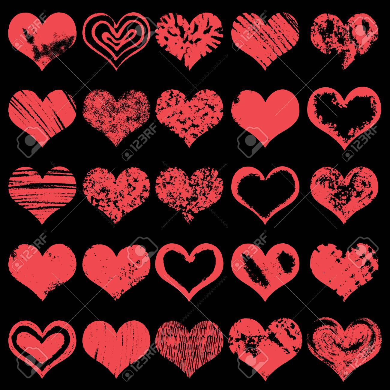 Grosse Hand Gezeichnete Herzformen Ikonen In Der Roten Farbe Fur