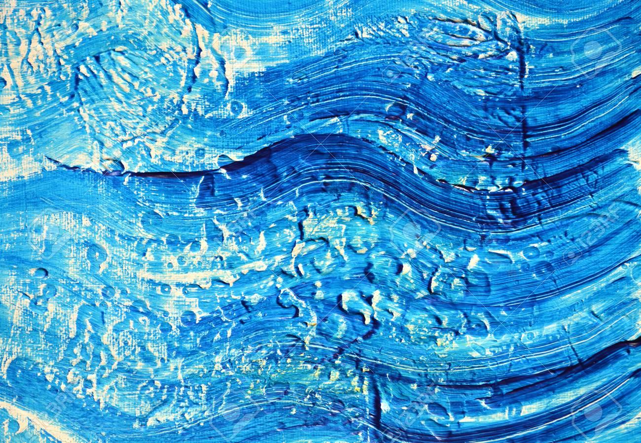 Tache De Peinture à L Huile Dégradé Bleu Sur Fond Texturé Blanc Peinture Acrylique Sur Une Palette Coups De Pinceau Bleus De Peinture à L Huile Sur