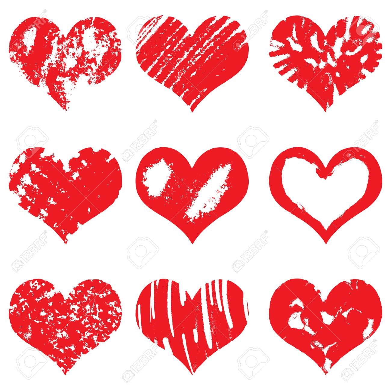 hand drawn heart shapes icons in red color for valentines and