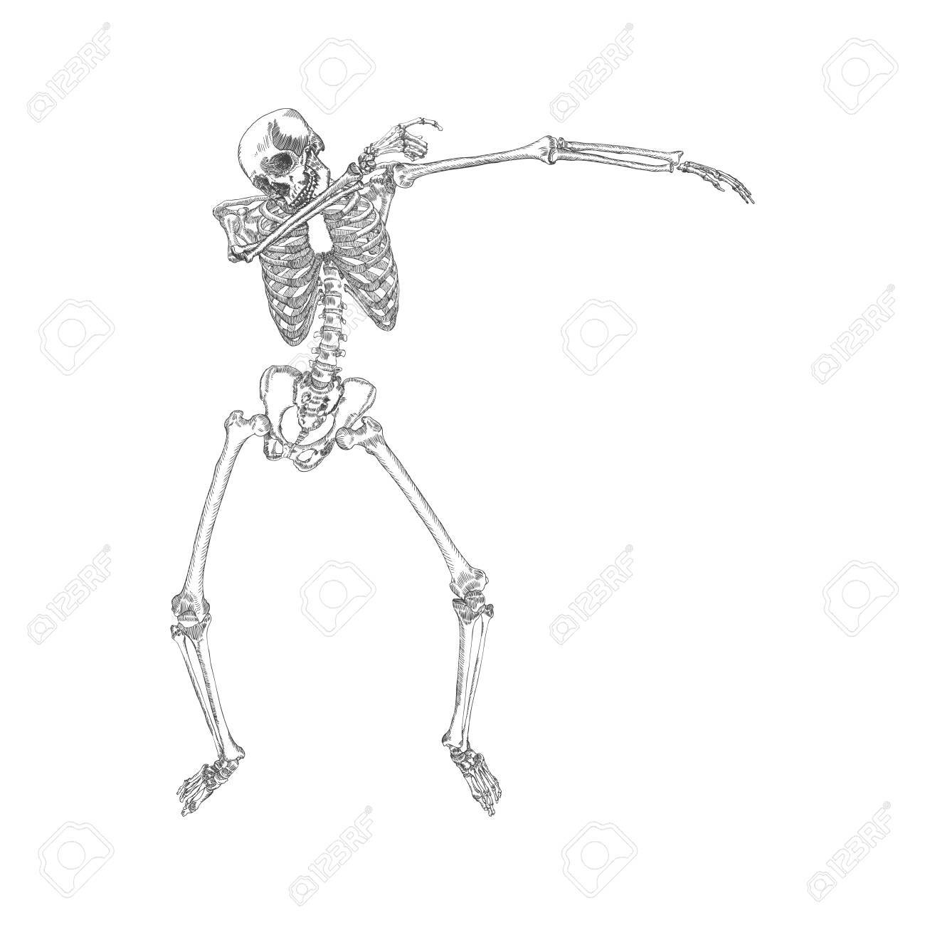 human skeleton making dab perform dabbing dance move gesture