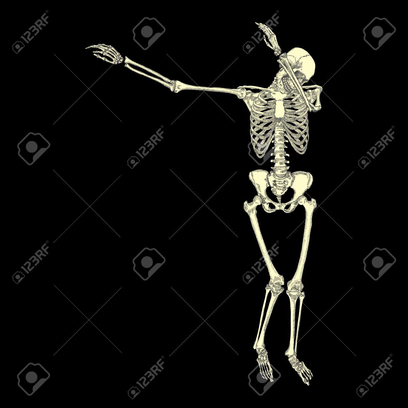 Human skeleton posing DAB, perform dabbing dance move gesture,
