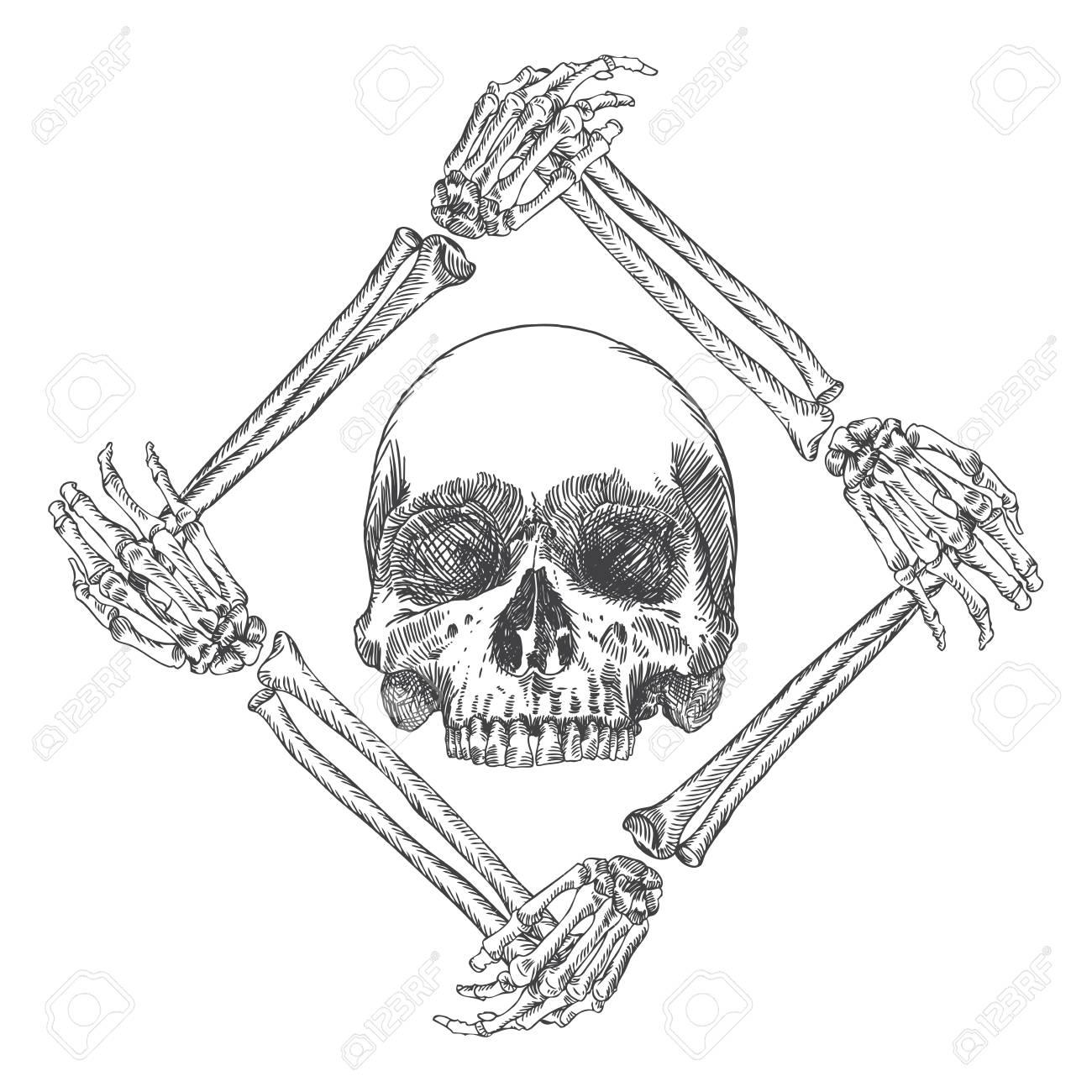 Cráneo En El Marco Hecho De Manos Huesos. Arte De La Bruja De Magia ...