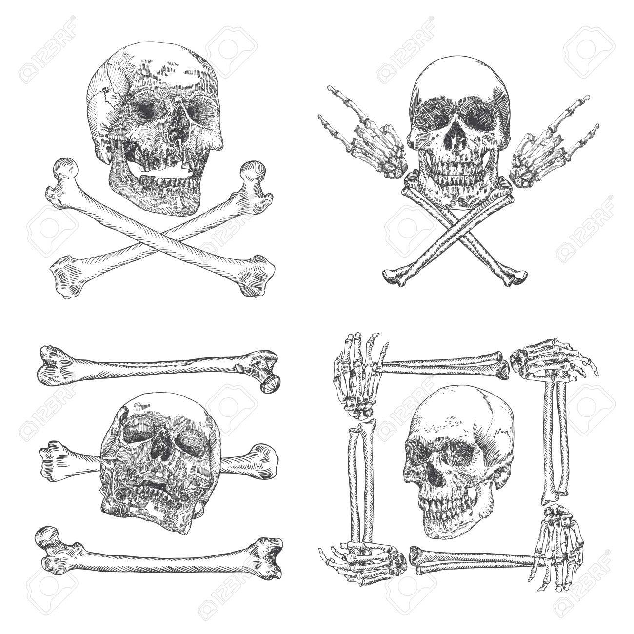 Set Of Skulls Crossbones, Made Of Hands With Gestures Or In The Frame Made  Of