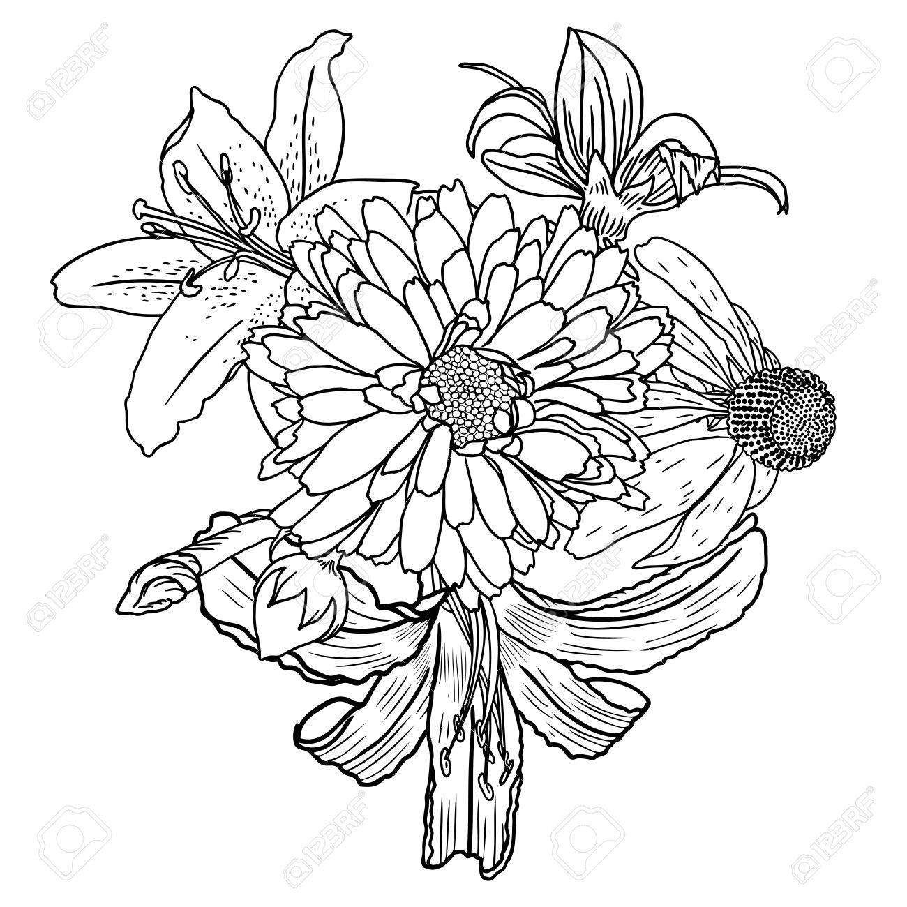 Fleurs Bouquet De Differentes Fleurs Dessinees A La Main Vintage Noir Blanc Et Isole Peut Etre Utilise Comme Invitation Carte De Voeux Imprimer Le Vecteur Clip Art Libres De Droits Vecteurs