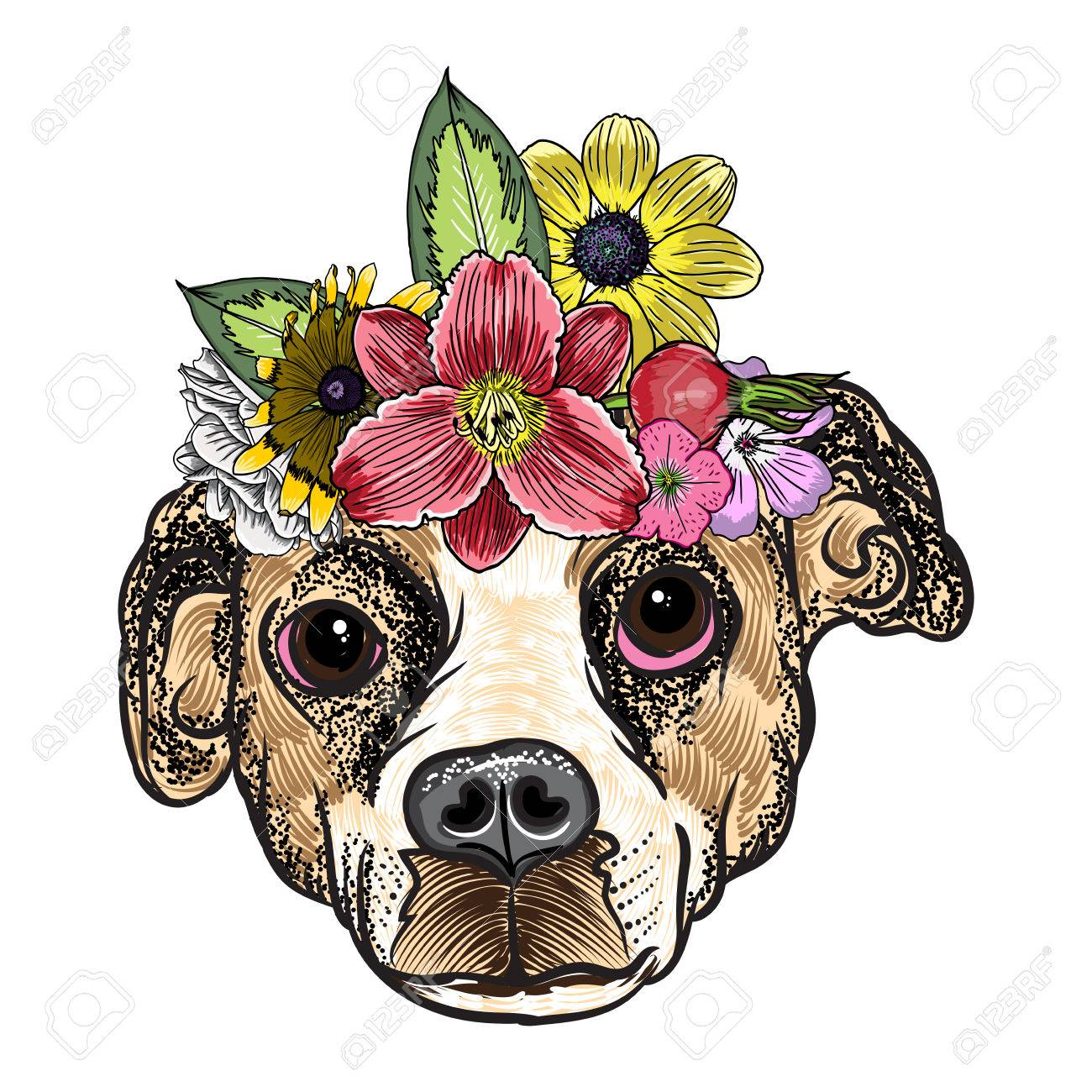 Cachorro De Beagle En La Corona De Corona De Flores Rosas Exóticas