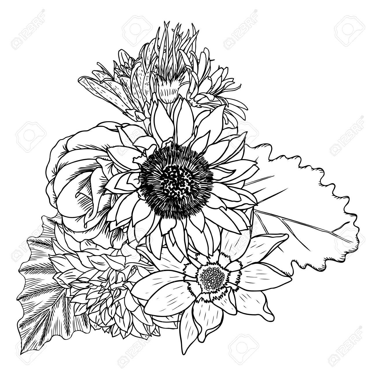 Banque d\u0027images , Fleurs. Bouquet de différentes fleurs dessinées à la  main. Vintage noir blanc et isolé, peut être utilisé comme invitation,  carte de voeux