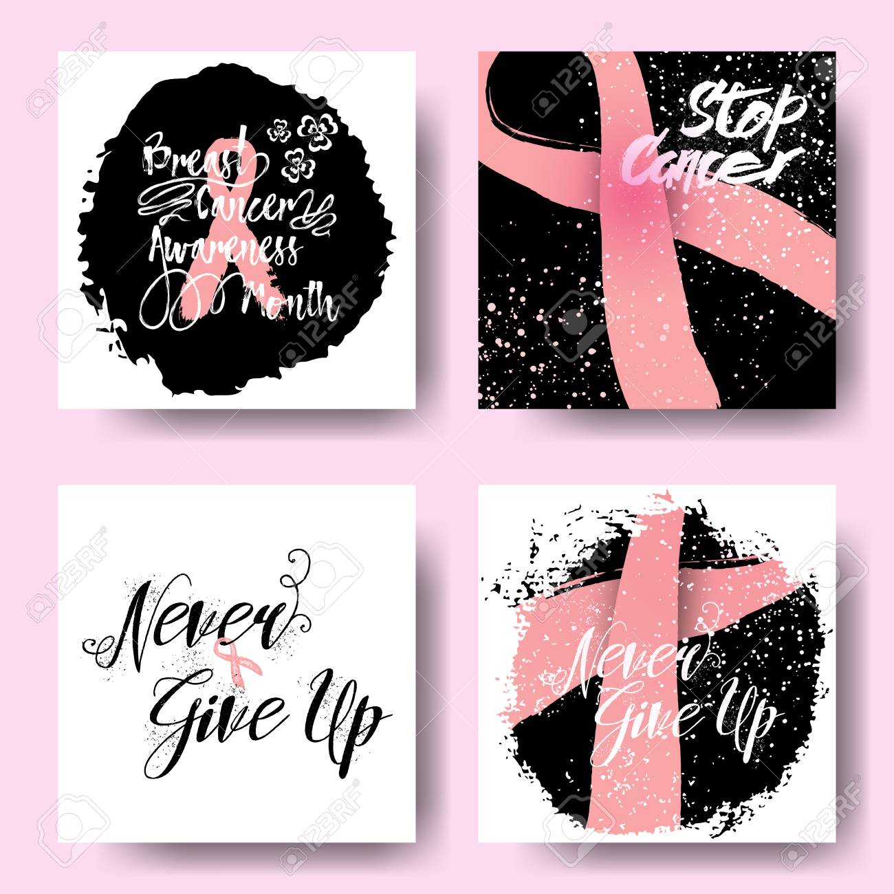 Breast Cancer Inspirational Quotes Set Of Pink Ribbons Symbols And Cards For October Breast Cancer