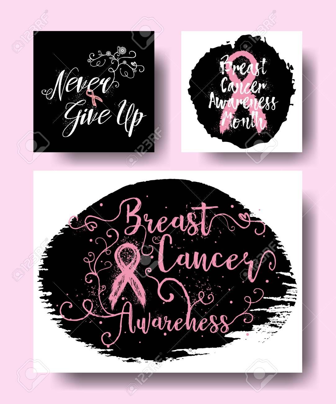 9428802b1d1 Set of Breast cancer awareness month in October cards design..